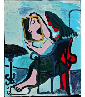 Stampa su tela: Picasso Pablo - Donna allo specchio