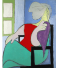 Picasso Pablo - Donna seduta vicino a una finestra. Stampa su tela