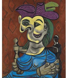 Picasso Pablo - Donna seduta, abito blu. Stampa su tela