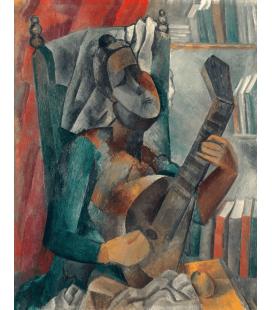 Stampa su tela: Picasso Pablo - Femme a la mandoline