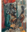 Picasso Pablo - Donna con mandolino. Stampa su tela