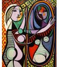 Picasso Pablo - Ragazza prima di uno specchio. Stampa su tela