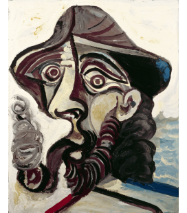 Picasso Pablo - Il fumatore. Stampa su tela