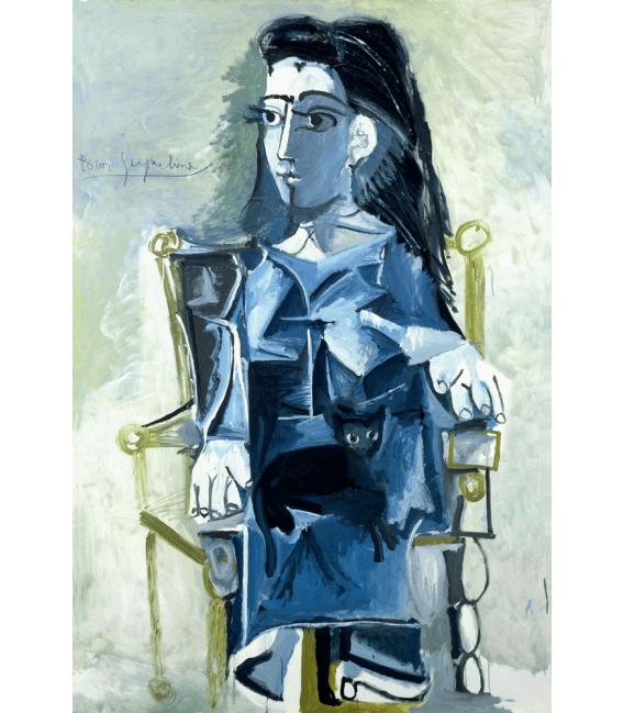 Stampa su tela: Picasso Pablo - Jacqueline seduta su sedia a rotelle