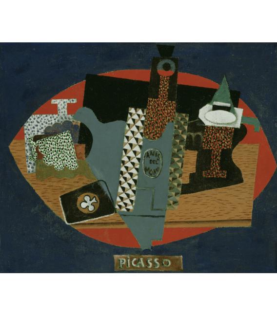 Stampa su tela: Picasso Pablo - La bottiglia di Anis del Mono