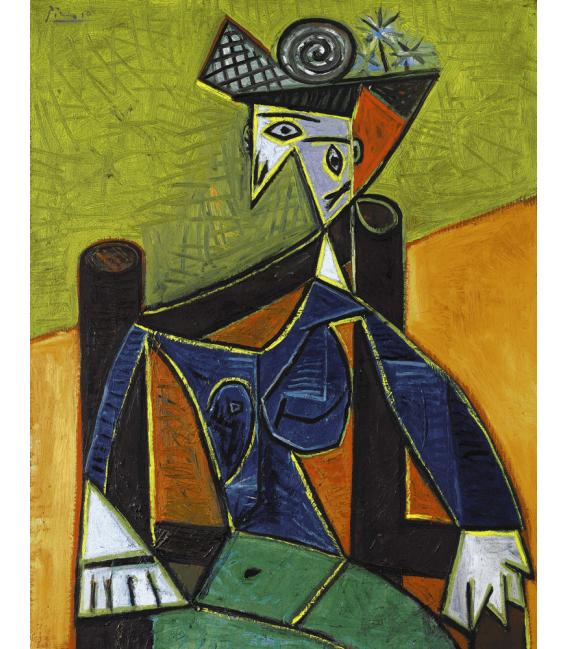 Stampa su tela: Picasso Pablo - Mujer sentada en una butaca