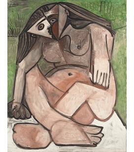 Picasso Pablo - Nudo accovacciato. Stampa su tela