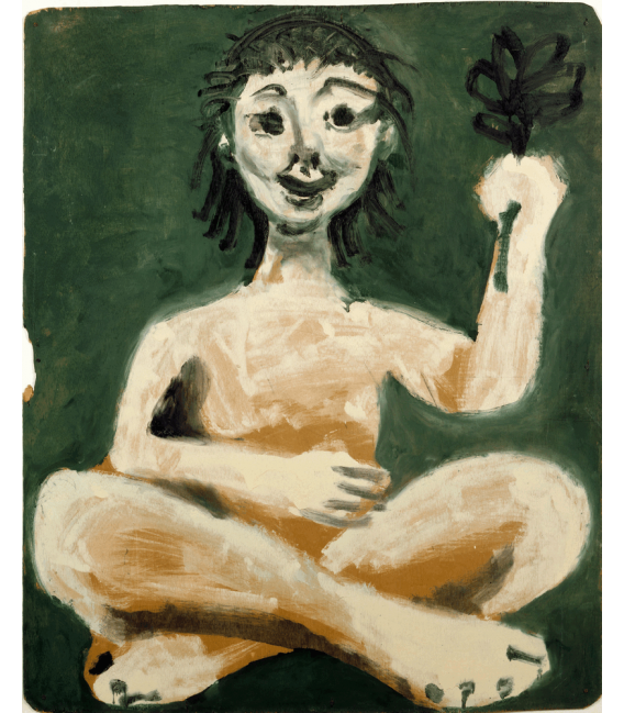 Printing on canvas: Pablo Picasso - Sitting girl holding a bunch of leaves