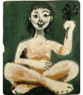 Picasso Pablo - Ragazza seduta che tiene un ciuffo di foglie. Stampa su tela