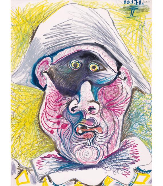 Stampa su tela: Picasso Pablo - Testa di Arlecchino II