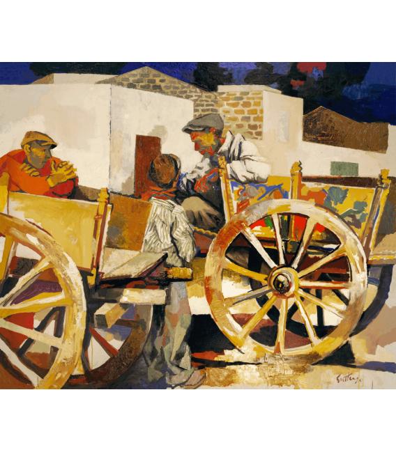 Stampa su tela: Renato Guttuso - Carretti a Bagheria