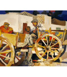 Renato Guttuso - Carts in Bagheria. Printing on canvas