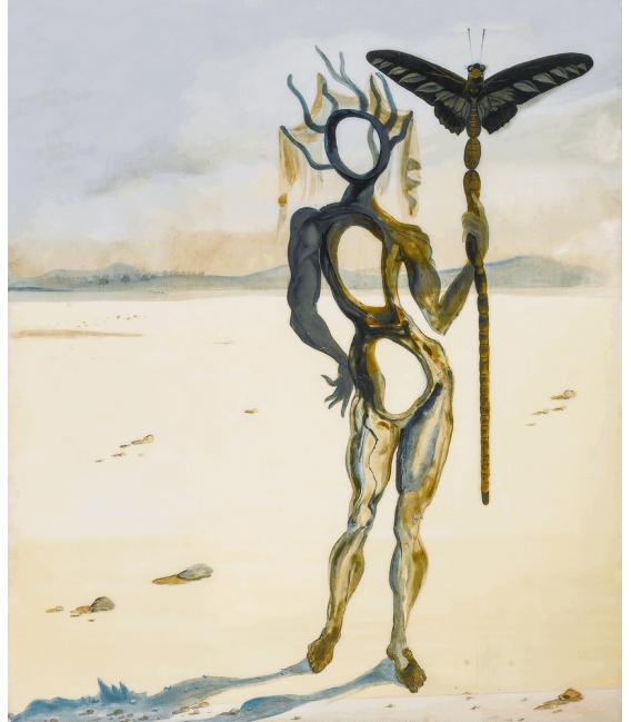Stampa su tela: Salvador Dalí - Crisálida (figura con le corna)