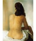 Stampa su tela: Salvador Dalí - Gala nudo da dietro guardando in uno specchio invisibile
