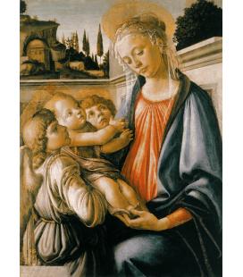 Sandro Botticelli - Madonna con il Bambino e due Angeli. Stampa su tela