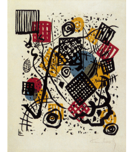 Vassily Kandinsky - Color lithograph on paper machine. Printing on canvas