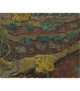 Stampa su tela: Vincent Van Gogh - Alberi di ulivo contro un pendio di collina