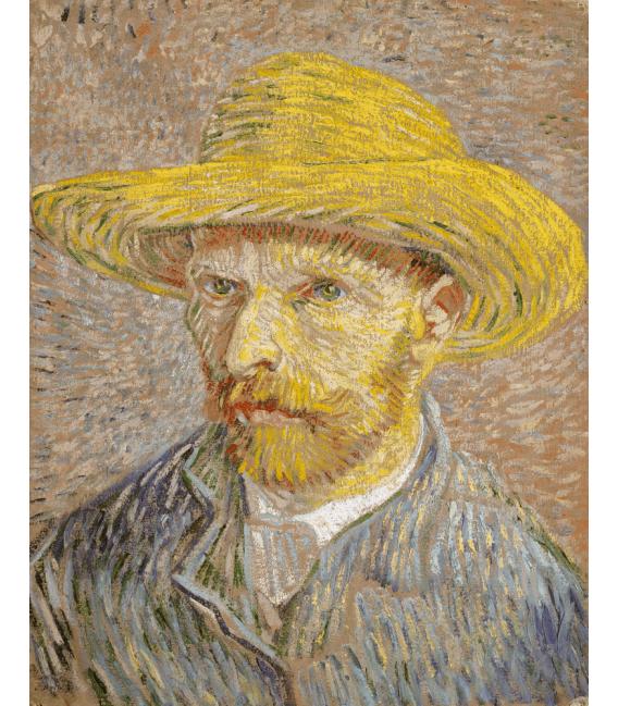 Stampa su tela: Vincent Van Gogh - Autoritratto 1887 con cappello di canna