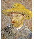 Vincent Van Gogh - Autoritratto 1887 con cappello di canna. Stampa su tela