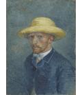 Vincent Van Gogh - Autoritratto 1887 con cappello giallo. Stampa su tela