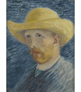 Stampa su tela: Vincent Van Gogh - Autoritratto con cappello di paglia