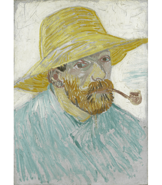 Printing on canvas: Vincent Van Gogh - Self-portrait with straw hat and pipe
