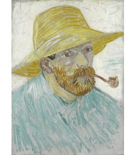 Stampa su tela: Vincent Van Gogh - Autoritratto con cappello di paglia e pipa