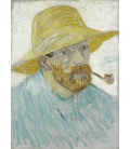 Vincent Van Gogh - Self-portrait with straw hat and pipe. Printing on canvas