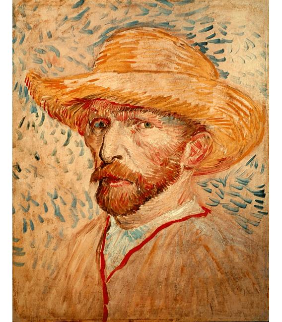Stampa su tela: Vincent Van Gogh - Autoritratto con cappello di paglia 2