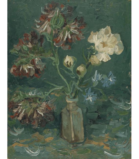 Stampa su tela: Vincent Van Gogh - Bottiglia con peonie