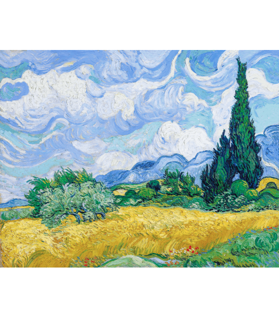 Stampa su tela: Vincent Van Gogh - Campo di grano con cipressi