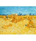 Stampa su tela: Vincent Van Gogh - Campo di grano con mietitore