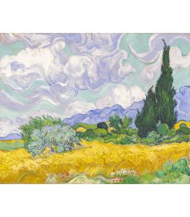 Stampa su tela: Vincent Van Gogh - Campo di grano, con cipressi