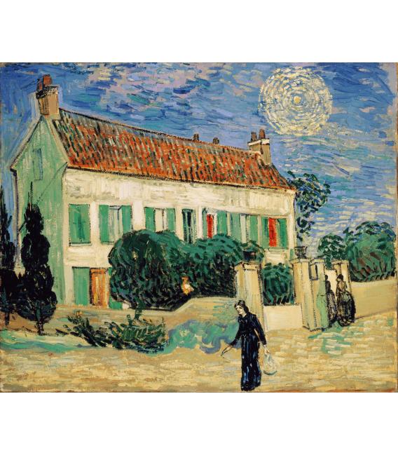Stampa su tela: Vincent Van Gogh - Casa bianca di notte
