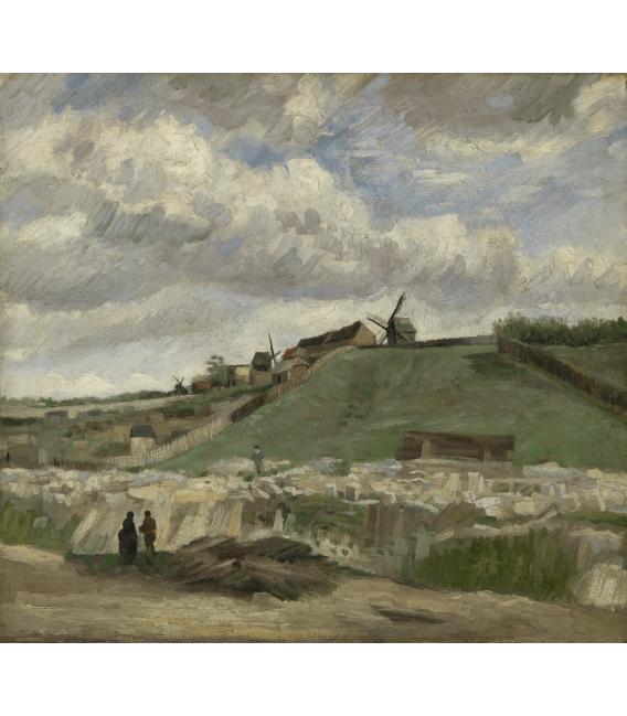 Stampa su tela: Vincent Van Gogh - Cava di Montmartre con mulini