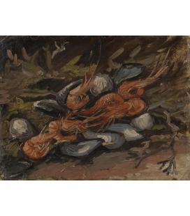 Vincent Van Gogh - Gamberi e cozze. Stampa su tela
