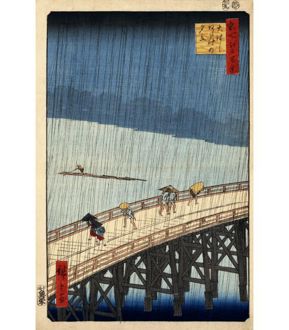 Stampa su tela: Vincent Van Gogh - Giapponeseria, ponte sotto la pioggia (vicino Hiroshige)