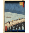 Vincent Van Gogh - Giapponeseria, ponte sotto la pioggia (vicino Hiroshige). Stampa su tela