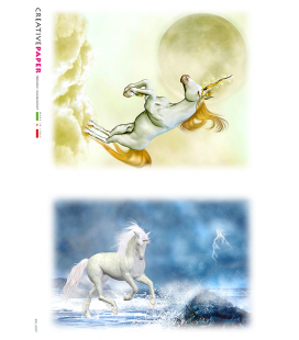 Carta di riso Decoupage: Unicorno, Cavallo Bianco