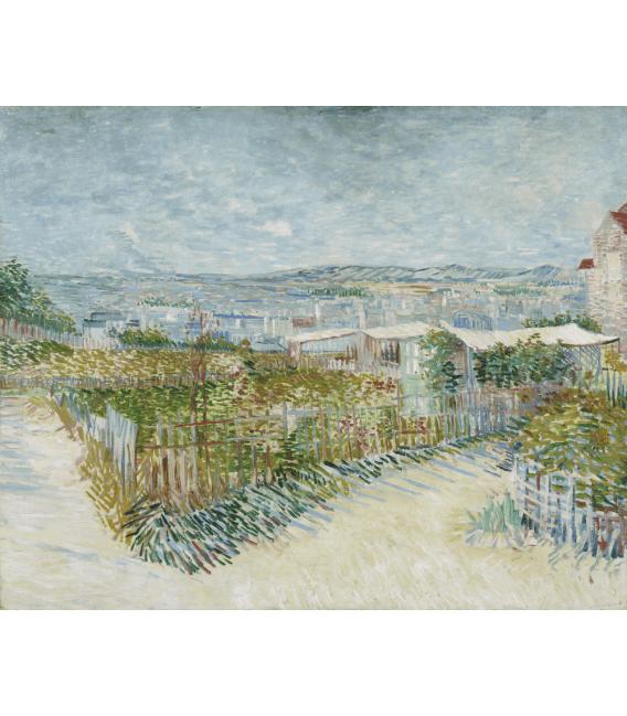 Stampa su tela: Vincent Van Gogh - Montmartre, retro del Moulin de la Galette