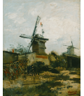 Stampa su tela: Vincent Van Gogh - Mulini a Montmartre