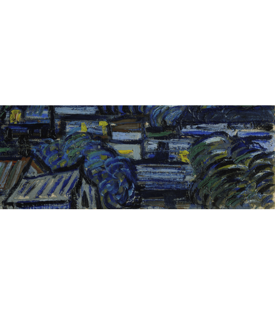 Stampa su tela: Vincent Van Gogh - Notte stellata su Rodano, particolare