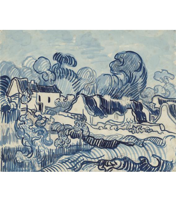 Stampa su tela: Vincent Van Gogh - Paesaggio con case