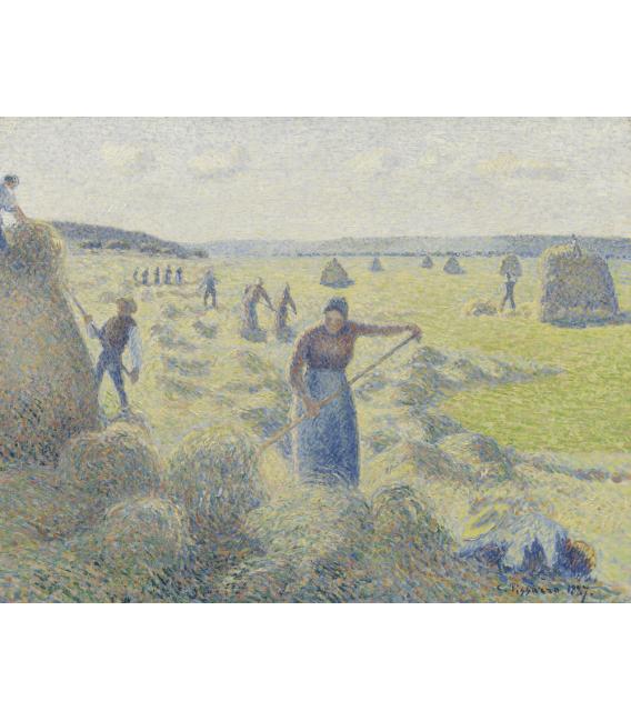 Stampa su tela: Vincent Van Gogh - Raccolta del fieno a Eragny