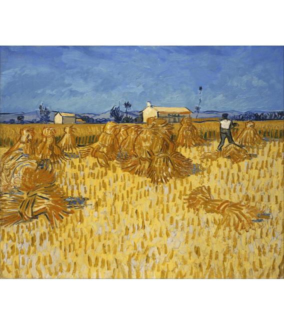 Stampa su tela: Vincent Van Gogh - Raccolto di mais in Provenza