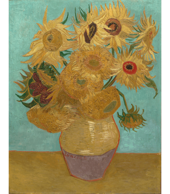 Stampa su tela: Vincent Van Gogh - serie Girasoli, 12 girasoli in un vaso