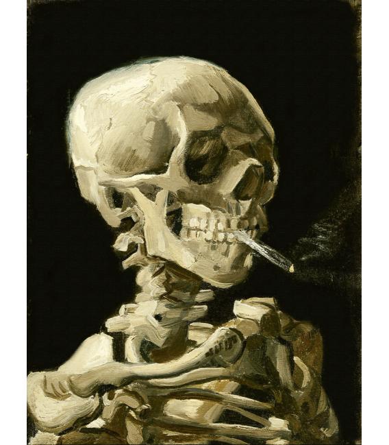 Printing on canvas: Vincent Van Gogh - Skeleton head with burning cigarette