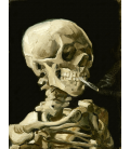 Vincent Van Gogh - Skeleton head with burning cigarette. Printing on canvas