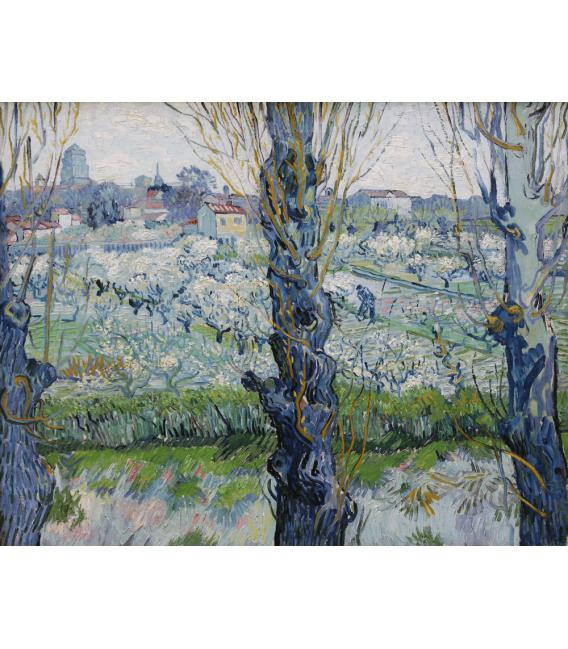 Stampa su tela: Vincent Van Gogh - Vista di frutteti in fiore ad Arles