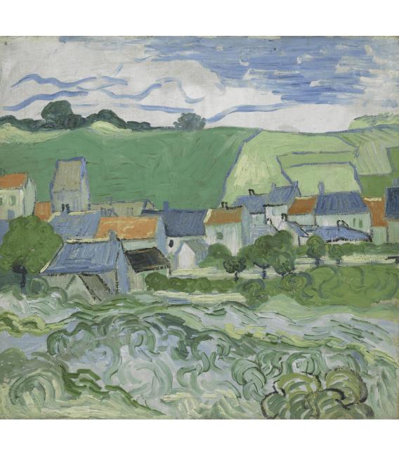 Stampa su tela: Vincent Van Gogh - Veduta di Auvers